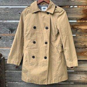 Tan Trenchcoat with Striped Liner
